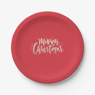 Red and Gold Merry Christmas Paper Plates