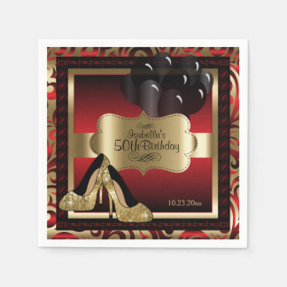 Red and Gold Metallic - 50th Birthday  | DIY Text Disposable Napkins