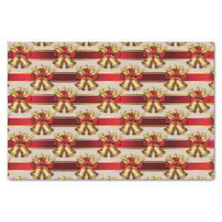 Red and Gold Metallic Bell Stripes Tissue Paper