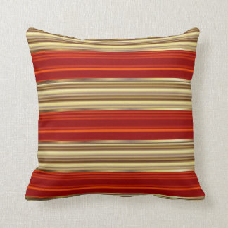 Red and Gold Metallic Pin Stripes Throw Pillow