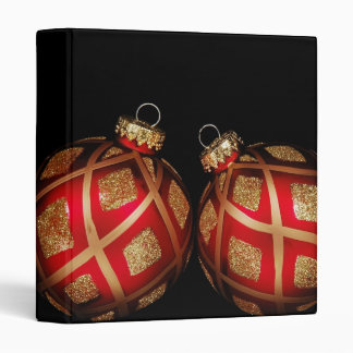 """Red and Gold Ornaments 1"""" Photo Album Binders"""
