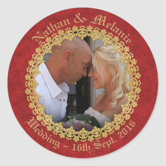 Red and Gold Ornate Round Sticker