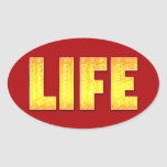 Red and Gold Oval LIFE Stickers