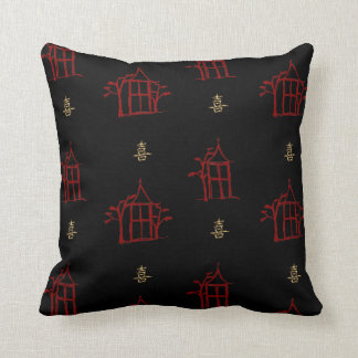Red and Gold Pagodas Chinoiserie Throw Pillow