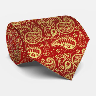 red and gold paisley tie