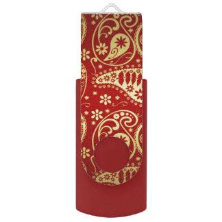 red and gold paisley usb flash drive swivel USB 2.0 flash drive