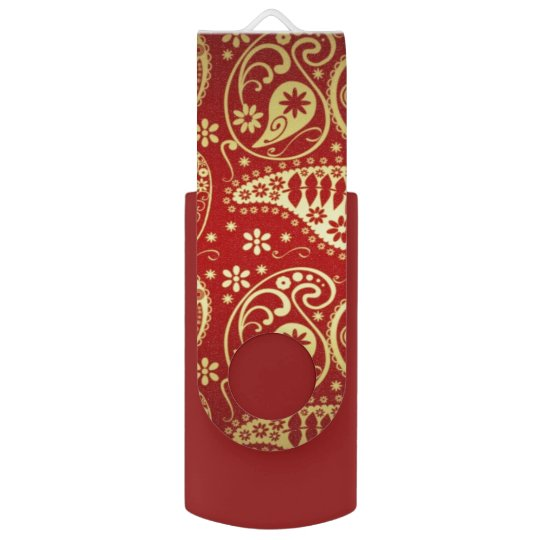 red and gold paisley usb flash drive swivel USB 2.0 flash drive