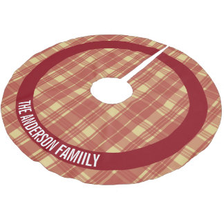 Red and Gold Plaid Personalized Brushed Polyester Tree Skirt