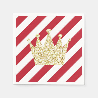 Red and Gold Prince Crown Napkins Disposable Napkin