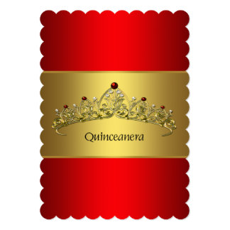 Red and Gold Quinceanera Card