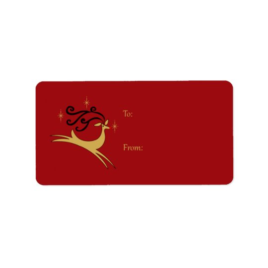 Red and Gold Reindeer Gift Tags