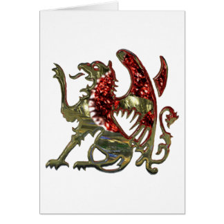 Red and Gold Shiny Metal Griffon Card
