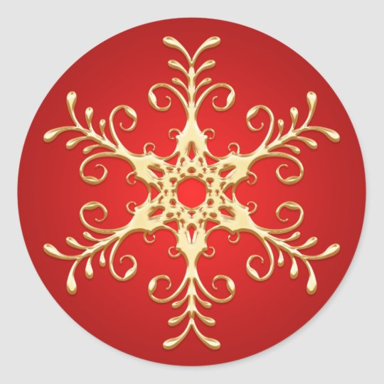 Red and Gold Snowflake Sticker