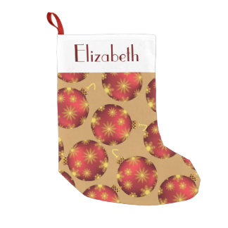 Red and Gold Snowflakes Christmas Baubles Monogram Small Christmas Stocking