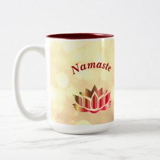 Red and Gold sparkle Namaste Lotus Flower Two-Tone Coffee Mug