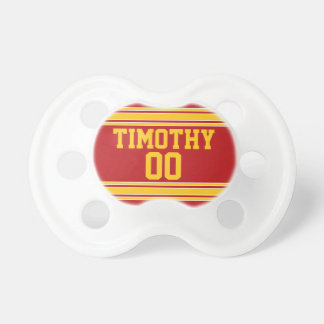Red and Gold Sports Jersey for Baby Boy Pacifier
