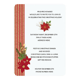 Red and Gold Stripe and Poinsettia Christmas Card