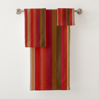 Red and Gold Stripe Bath Towel Set