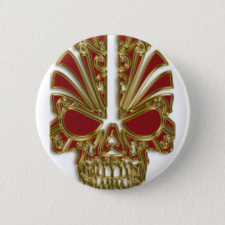 Red and gold sugar skull cranium 2 inch round button