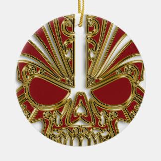 Red and gold sugar skull cranium ceramic ornament