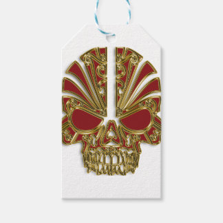 Red and gold sugar skull cranium gift tags