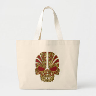 Red and gold sugar skull cranium large tote bag
