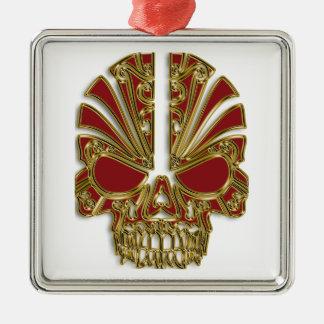 Red and gold sugar skull cranium metal ornament