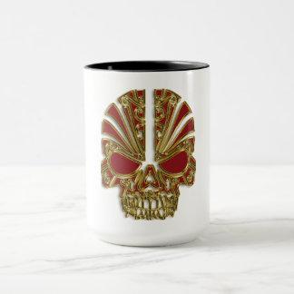 Red and gold sugar skull cranium mug