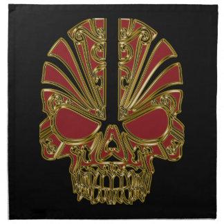 Red and gold sugar skull cranium napkin