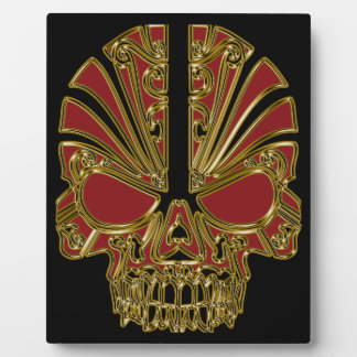 Red and gold sugar skull cranium plaque