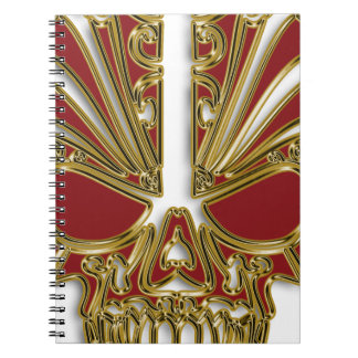 Red and gold sugar skull cranium spiral notebook