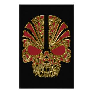 Red and gold sugar skull cranium stationery