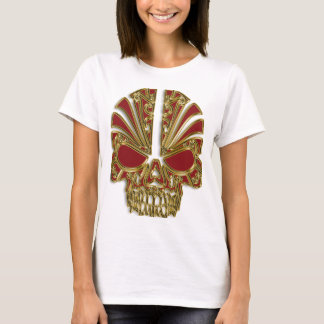 Red and gold sugar skull cranium T-Shirt