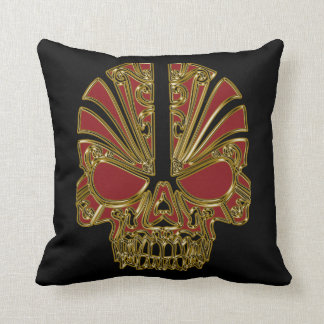 Red and gold sugar skull cranium throw pillow
