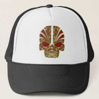 Red and gold sugar skull cranium trucker hat