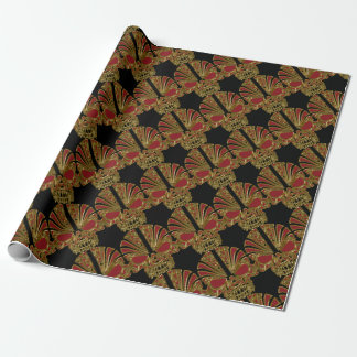 Red and gold sugar skull cranium wrapping paper