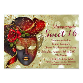 """Red and Gold Sweet 16 Masquerade Party 4.5"""" X 6.25"""" Invitation Card"""