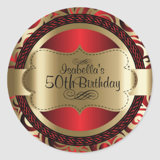 Red and Gold Swirl Abstract Birthday Round Sticker