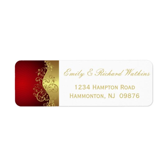 Red and Gold Swirl Elegant Labels
