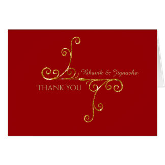 Red and Gold Tassel Indian Thank You card