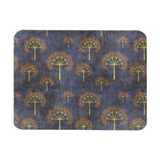 Red and Gold Trees on Grunge Blue Rectangular Photo Magnet