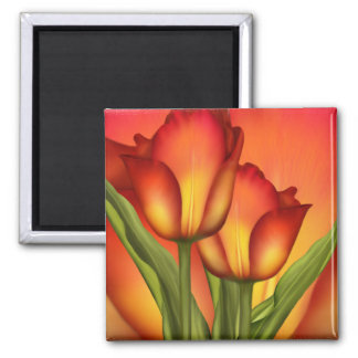 Red and Gold Tulips Magnet