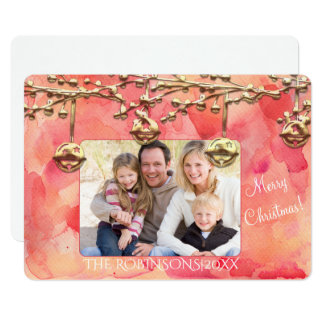 Red and Gold Watercolor Christmas Photo Card
