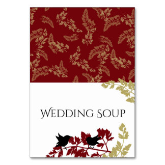 Red and Gold Woodland Birds Buffet Cards