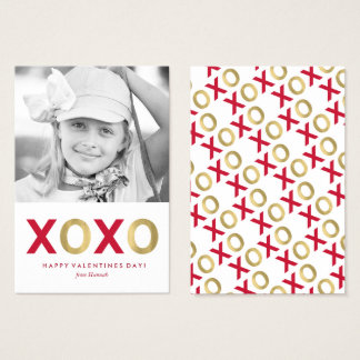 Red and Gold XOXO Kids Classroom Photo Valentines Business Card