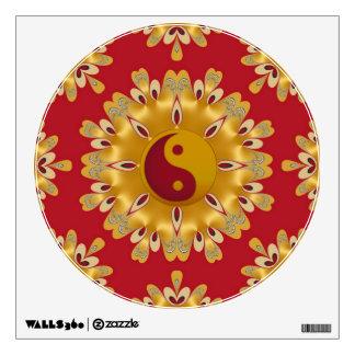 Red and Gold Yin Yang Feng Shui Fire Mandala Wall Sticker