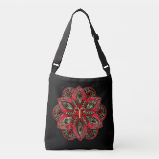 Red and Gold Zodiac Sign Aries Crossbody Bag