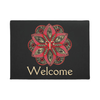 Red and Gold Zodiac Sign Aries Doormat