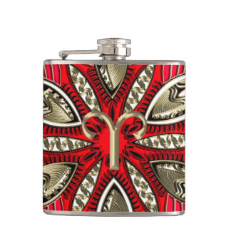 Red and Gold Zodiac Sign Aries Hip Flask
