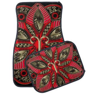 Red and Gold Zodiac Sign Aries Mandala Car Mat